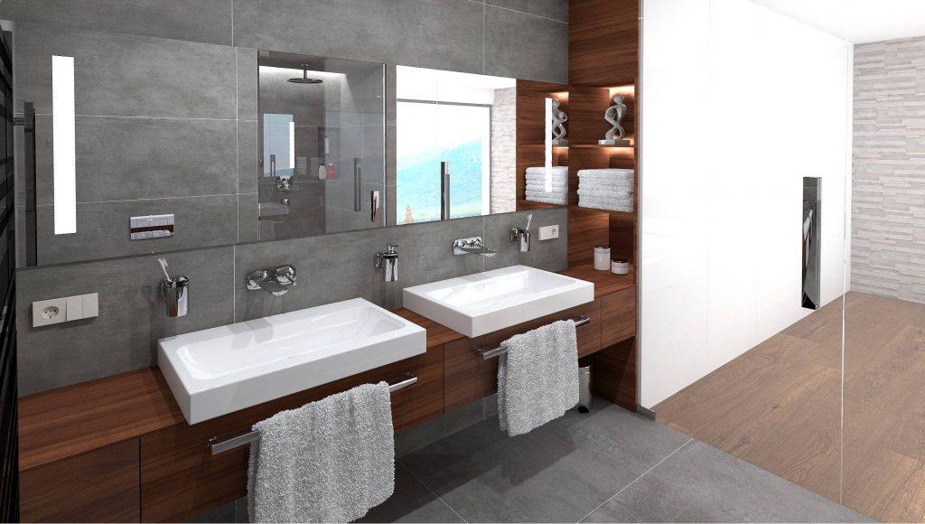 Designová koupelna dřevo-beton